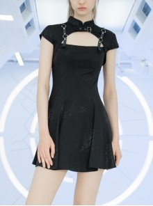 Button Collar Front Chest Hollow-Out Leather Shoulder Strap Black Punk Chinese Style Dress