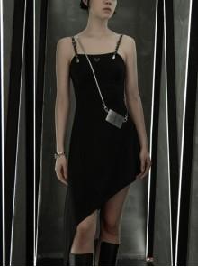 Front Chest Coriaceous Love Embroidery Metal Rivet Leather Shoulder Strap Oblique Hem Black Punk Dress