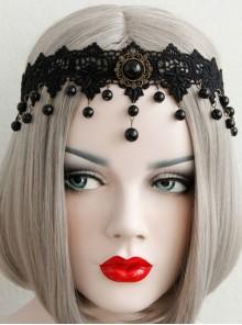 Gothic Vampire Black Lace Pearl Halloween Performer Headband