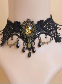 Leopard Gothic Pearl Black Chain Lace Fake Collar Fashion Choker
