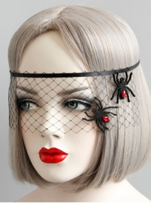 Halloween Masquerade Party Spider Princess Gothic Womens Half Face Black Net Yarn Face Mask