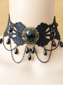 Black Gothic Diamond Pearl Lace Fake Collar Female Exaggerated Short Clavicle Chain