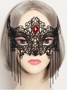 Fashion Gothic Womens Half Face Sexy Black Lace Tassel Gems Fox Exaggerated Prom Mask