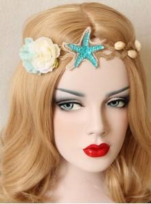 Fashion Beach Holiday Starfish Blue Flowers Shell Hairband