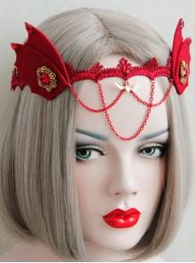 Gothic Womens Demon Animal Ears Wine Red Chain Gems Felt Cloth Headband Halloween Head Accessories