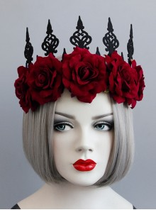 Gothic Retro Red Rose Queen Halloween Christmas Prom Party Crown Hairband