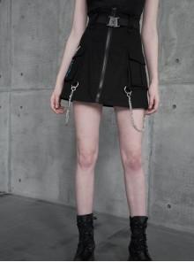 Buckle Belt Side Embroidery Pocket Metal Chain Decoration Black Punk A-Shape Skirt