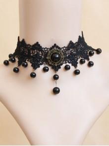 Fashion Evening Dress Prom Black Gothic Lace Pearl Choker