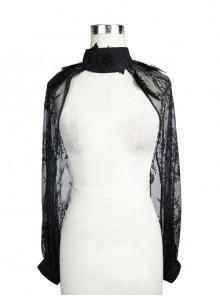 Black Transparent Lace Trim Rose Feather Gothic Shawl