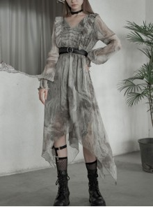 V-Neck Front Chest Embroidered Lantern Sleeve Leather Belt Grey Punk Print Chiffon Dress