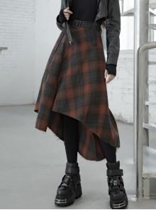 Metal Buckle Belt High Waist Irregular Hairy Hem Brown Plaid Punk Long Skirt