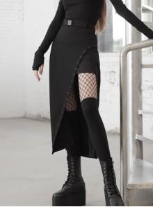 High Waist Metal Buckle Belt Front Slit Black Punk A-Type Mid-Length Skirt