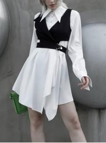 White Front Metal Button Swallowtail Shape Cuff Irregular Hem Gothic Blouse