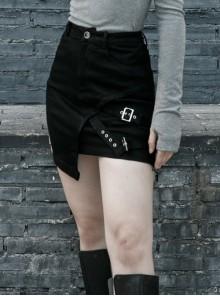 Black Metal Slant Buckle Loop Decoration Irregular Hem Punk Denim Skirt