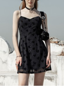 Front Skull Button Leather Thin Shoulder Strap Black Punk Heart-Shape Flocking Chiffon Sling Dress