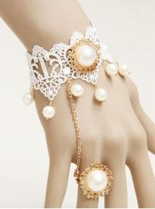 Lolita Princess Style Bride Bridesmaid Fashion White Lace Pearl Bracelet Ring One Chain
