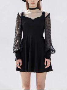 Off-Shoulder Mesh Lantern Sleeve Black Punk A-Shape Dress