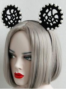 Gothic Black Nightclub Bar Prom Party Christmas Cute Cute Pearl Ear Hollow Headband