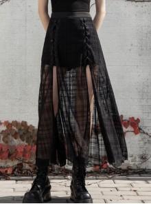 Front Metal Eyelets Lace-Up Slit Mesh Hem Black Punk Skirt