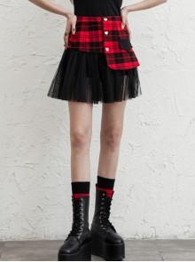 Front Metal Love Button Splice Mesh Hem Red Plaid Punk A-Shape Skirt