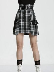 High Waist Plastic Belt Side Fake Pocket Black Plaid Punk Skirt