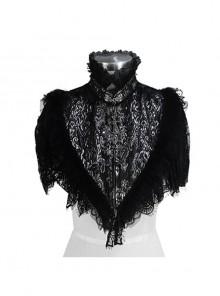 Black Silver Triangle Shawl Jacquard Fabric Lace Fabric Feather Lace Gothic Shawl