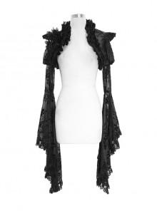 Black Gothic Transparent Lace Trim Big Trumpet Sleeve 3D Flower Rabbit Fur Lace Shawl