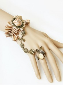 Vintage Lace Creative Bracelet Champagne Silk Rose Flower With Ring One Chain