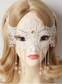 Lolita Masquerade White Lace Crystal Chain Princess Half Face Mask