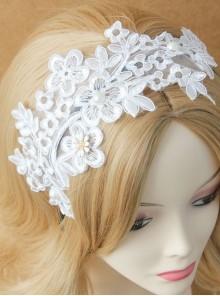 Lolita White Lace Flowers Wide Brim Headband Pearl Handmade Design Jewelry