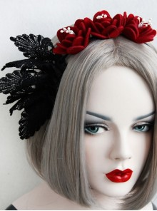 Gothic Retro Red Rose Black Lace Fashion Prom Party Sexy Headband