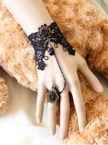 Fairy Bride Bridesmaid Retro Gothic Black Lace Bracelet Ring One Chain