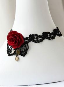 Gothic Retro Red Rose Fashion Black Lace Female Choker