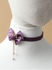 Retro Lace Fashion All-Match Purple Bow Chain Satin Choker