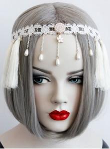 Christmas Wreath Tassels Retro Holiday Elastic White Tassels Pearls Headband