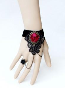 Gothic Palace Style Fashion Retro Black Lace Bracelet With Ring Set