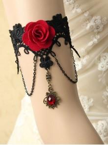 Gothic Retro Fashion Female Black Lace Red Rose Ruby Bracelet