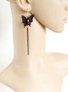 Gothic Retro Fashion Black Handmade Tassel Butterfly Ruby Earrings