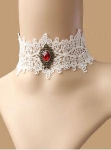 Vintage Fashion Lolita Ruby White Lace Diamond Lady Choker