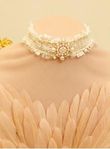 Lolita Queen Palace Style Princess White Lace Pearl Velvet Rope Choker