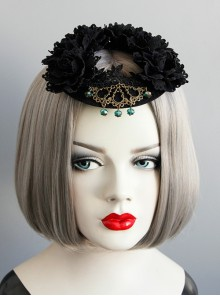 Retro Gothic Lace Garland Crystal Halloween Christmas Prom Show Black Top Hat Ornament