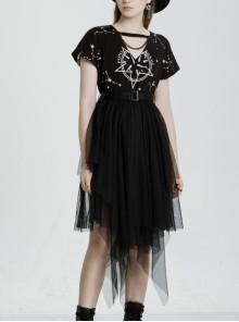 V-Neck Front Chest Print Buckle Belt Irregular Mesh Hem Black Punk Dress