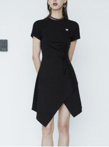Front Heart-Shape Hollow-Out Lace-Up Short Sleeve Irregular Hem Black Punk Dress