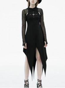 Black Gothic Front Chest Hollow-Out Irregular Shape Corner Hem Mesh Hooded Jacket Two-Piece Dress