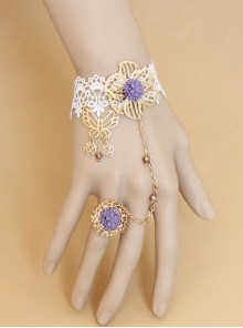 Fashion Lolita Butterfly Rose Purple Flower White Lace Bridesmaid Female Bracelet With Ring One Chain