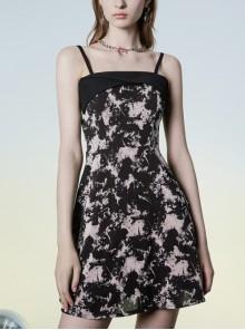 Black Punk Folding Collar A-Shape Print Slip Dress