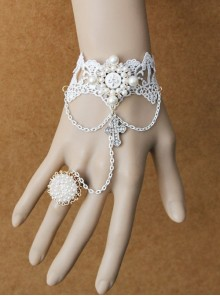 Lolita Palace Style Retro Female White Lace Pearl Cross Bracelet With Ring One Chain