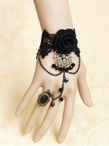 Black Lace Gothic Fashion Retro Rose Flower Crystal Female Bracelet With Ring One Chain