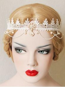 Lolita Fashion Cute Wedding Bride White Lace Pearl Crown Christmas Party Hairband