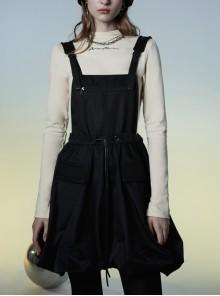 D-Buckle Shoulder Strap Waist Drawstring Loose Bud Swing Hem Black Punk Workwear Dress